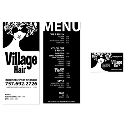Village Hair Rack and Business Cards